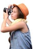 在射击工作室少年白色的背景女孩 库存图片