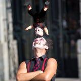 在小丑的头的玩偶。 免版税图库摄影