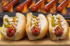 在小圆面包烤肉格栅背景中烤的热狗 免版税库存图片