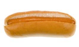在小圆面包的热狗 免版税库存图片