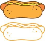 在小圆面包的热狗 库存照片