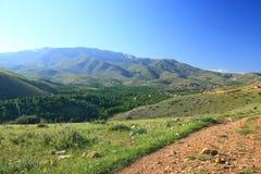 在小山之间的村庄 库存图片