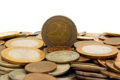 在小山俄国人硬币的欧洲硬币 免版税库存照片