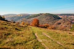 在小山和未开发的地区有树的和草的美好的五颜六色的秋天风景的看法在乡下 免版税库存图片