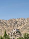 在小山树的佛教寺庙毗邻与山 免版税库存照片