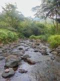 在小山的低水流量 图库摄影