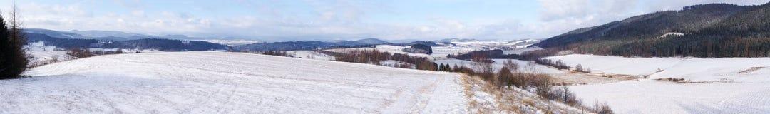 在小山的冬天 免版税库存照片