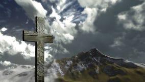 在小山的十字架 库存图片
