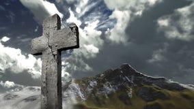 在小山的十字架 图库摄影