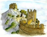 在小山的城堡 向量例证