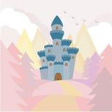 在小山的城堡 免版税库存图片