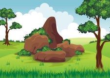 在小山的岩石 库存例证