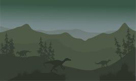 在小山的恐龙eoraptor 免版税库存照片