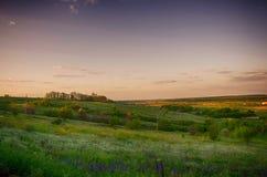 在小山的日落 免版税图库摄影