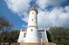 在小山的灯塔, Gelodonia,土耳其 库存照片