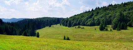在小山的田园诗风景 库存照片
