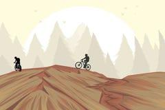 在小山的登山车 免版税库存照片