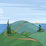 在小山的白扬树 免版税库存照片