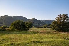 在小山的看法从绿色草甸 库存图片