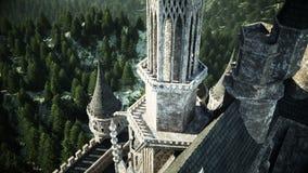 在小山的老童话城堡 鸟瞰图 现实4K动画 库存例证