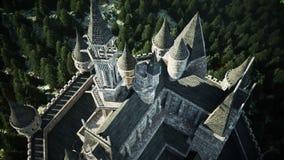 在小山的老童话城堡 鸟瞰图 现实4K动画 向量例证