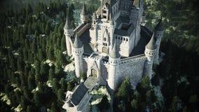 在小山的老童话城堡 鸟瞰图 3d翻译 向量例证
