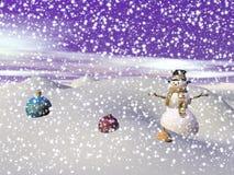 在小山的雪人- 3d回报 免版税库存照片