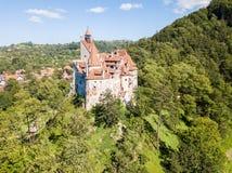 在小山的麸皮城堡与高尖顶,墙壁,红瓦顶, 免版税库存照片