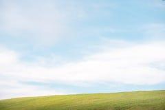 在小山的绿草与清楚的蓝天 库存照片