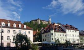 在小山的Ljbljana城堡与遗产老镇buidling的sur 免版税库存照片