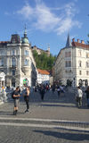 在小山的Ljbljana城堡与遗产老镇buidling的sur 免版税图库摄影