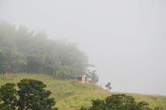 在小山盖子的竹小屋由薄雾在早晨 免版税库存图片