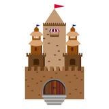 在小山背景的童话城堡在圈子的 免版税库存照片