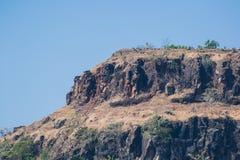 在小山达尔中央邦的岩层 图库摄影