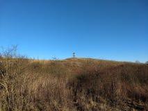 在小山顶流洒的寻找 库存照片