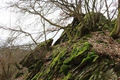 在小山顶,板岩形成的岩石峭壁 库存图片