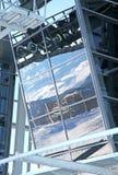 在小山Chopok -低Tatras,斯洛伐克的现代索道FUNITEL 免版税库存照片