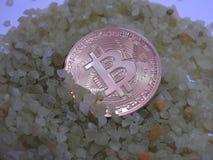 在小岩石的金黄Bitcoin 免版税库存照片
