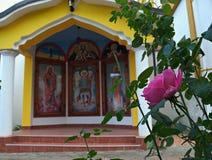 在小开放教堂前面的桃红色玫瑰在修道院里 免版税库存图片