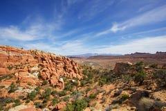 在小束岩石的skys的褐色 免版税库存照片