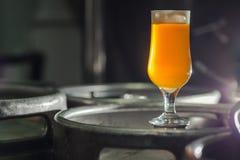 在小桶的低度黄啤酒 免版税库存照片