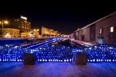 在小樽运河的点灯节日在冬天 免版税库存照片