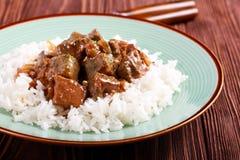 在小汤的肝脏用米 库存图片