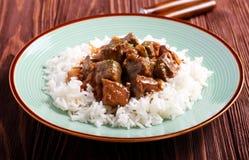 在小汤的肝脏用米 免版税库存图片