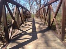 在小河早期的春天的桥梁 免版税库存图片