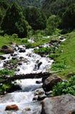 在小河的一座小桥梁 库存图片