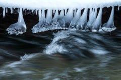 在小河的冰柱 库存照片
