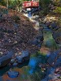 在小河的日本红色桥梁 库存图片