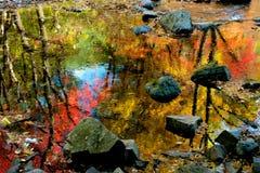 在小河的水反射 库存照片