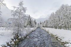 在小河附近的冬天风景 免版税库存图片